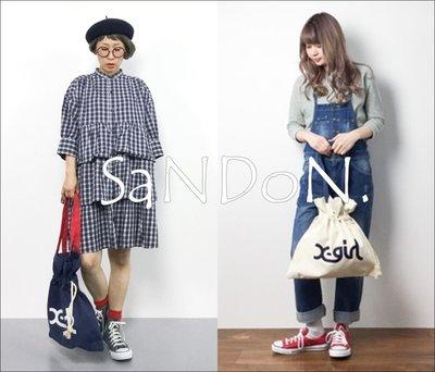 SaNDoN x『X-GIRL』秋冬IG超人氣 可愛GATHERED CANVAS BAG束口手提肩背包 171114
