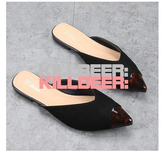 KillBeer:身為名媛的自傲之 歐美復古英國品牌外流60s典雅古董敢豹紋感玳瑁尖頭平底鞋拖鞋穆勒鞋A080409
