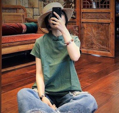 【子芸芳】原創中式改良側開襟純麻短袖小衫
