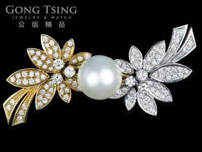 【公信精品】黃白K金 珍珠鑽石造形胸針 13mm 共約1.9克拉