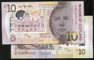 SCOTLAND (蘇格蘭塑膠鈔), P-new , 10-POUND , 2016 BOS , 品相全新UNC