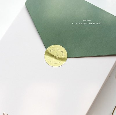 AM好時光【J449】啞光金箔感 圓形浮雕貼紙 6枚❤婚禮手工餅乾鐵盒禮品標籤 西點常溫蛋糕餐盒 伴手禮包裝盒裝飾貼紙