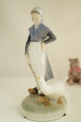 【德藝鋪】丹麥製Royal Copenhagen皇家哥本哈根瓷偶 少女舆鵝