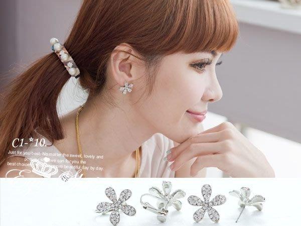 EGO-SHOP%甜美派對美人水鑽花朵耳環C1-10螺旋耳夾款∮.沒有耳洞也可以戴