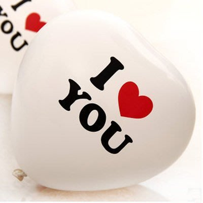 發光派對屋(西門中華店)@10吋I LOVE YOU 愛心氣球(白色單顆價)