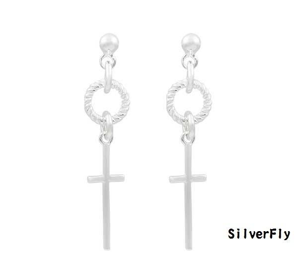 十字架針式純銀耳環《 SilverFly銀火蟲銀飾 》