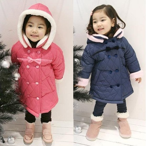 韓版《連帽毛邊款》舖棉保暖大衣(T2)