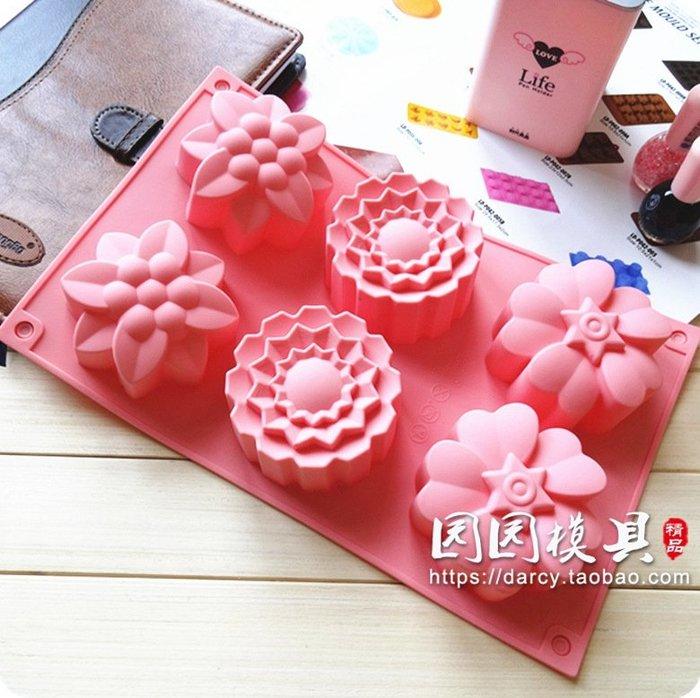 千夢貨鋪-6連3組花型甜點慕斯蛋糕裝飾烘焙模果凍巧克力手工皂硅膠模具#手工皂#香皂#製作材料#去螨蟲#清潔