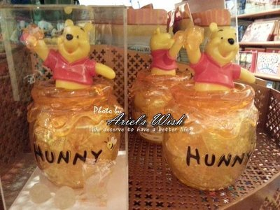 Ariel's Wish-東京迪士尼DisneyLand立體頭小熊維尼winnie公仔蜂蜜糖果收納組-現貨無糖空盒*1