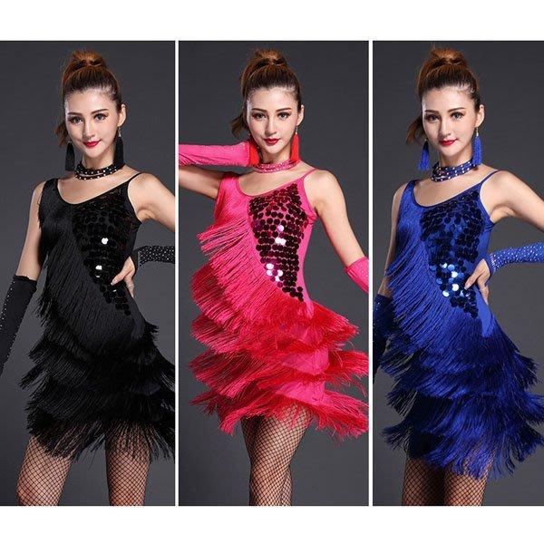 5Cgo【鴿樓】會員有優惠 43808940002 拉丁舞衣亮片流蘇性感細肩舞裙成人女性跳舞表演服裝附手套+項鍊