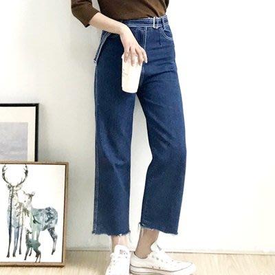 牛仔 褲 闊腿 九分褲-微復古高腰明線毛邊女褲子73tq18[獨家進口][巴黎精品]