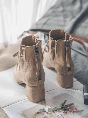 黑色絨面方頭短靴女馬丁靴復古中跟女靴冬季蝴蝶結粗跟女裸靴踝靴