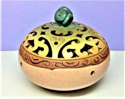 @居士林@鶯歌陶瓷-彩釉環香陶瓷香爐.尺寸:高10.5公分.寬14公分.重量435公克