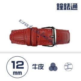 【鐘錶通】C1.08KW《繽紛系列》鱷魚壓紋-12mm 火紅┝手錶錶帶/高質感/牛皮錶帶┥