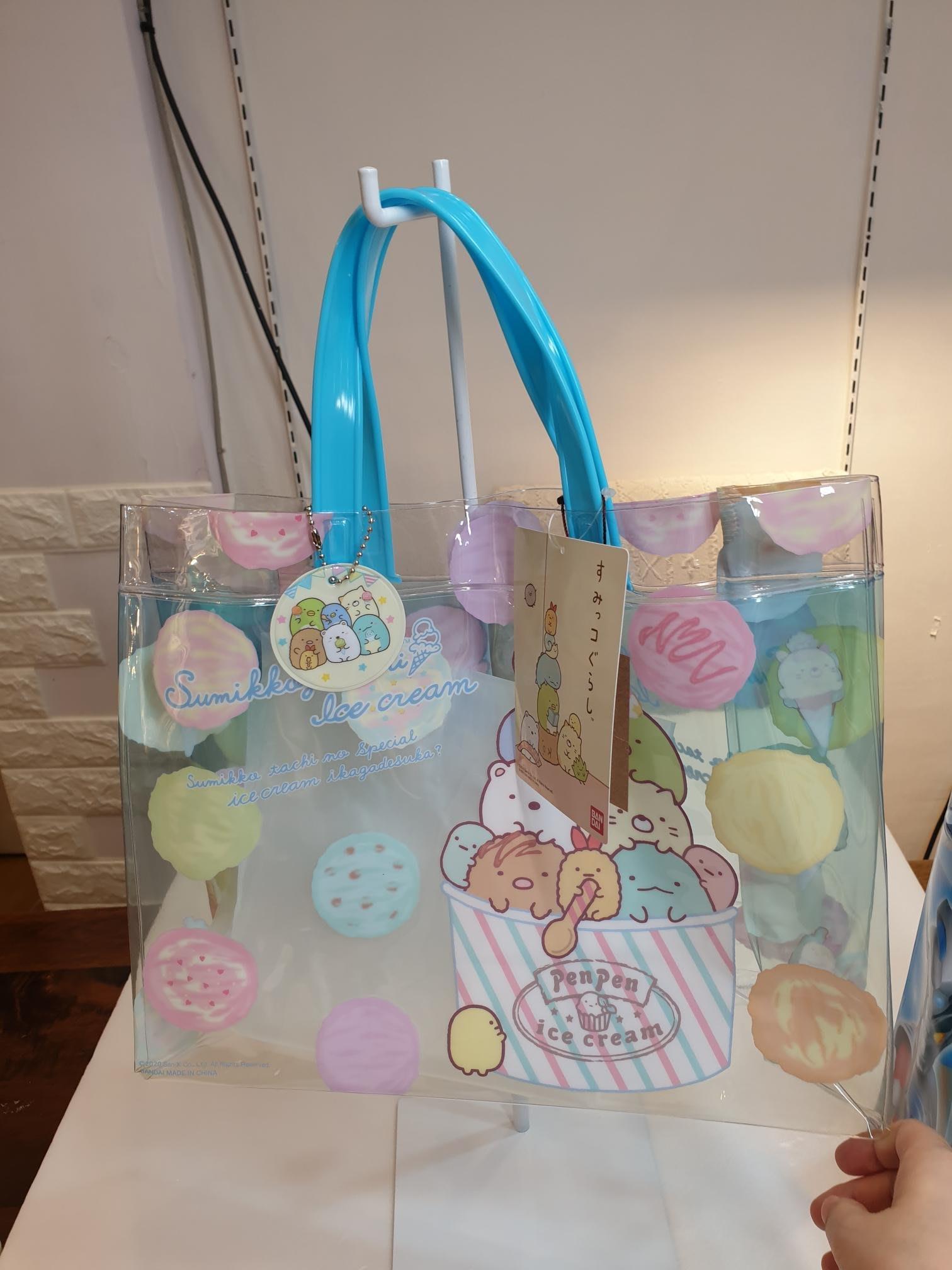 《Amys shop》日本直購~超可愛角落生物/Hellokitty /湯瑪士小火車/史奴比/假面超人/美樂蒂PVC海灘袋~現貨