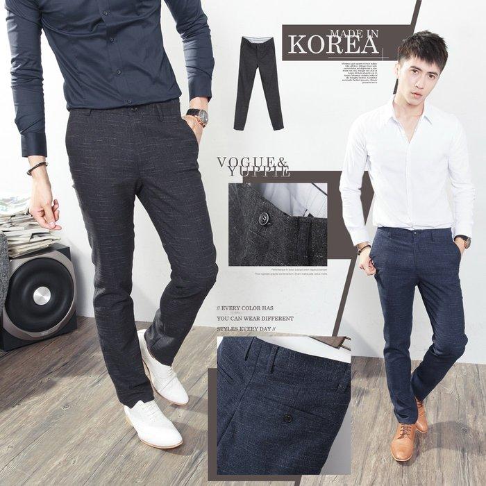 。SW。【K32128】正韓MR 韓國製 修身顯瘦 質感西裝布 窄版 雅痞紳士 紋路 西裝褲 下標區 英倫 GD
