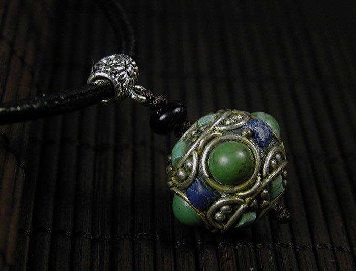 藏珠物流中心 * * *鑲寶銅珠*皮繩項鍊**F096