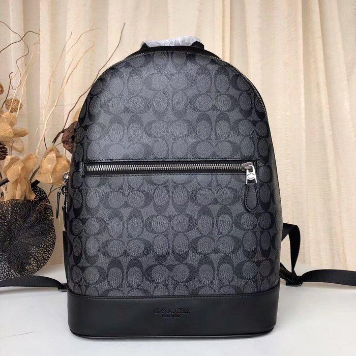 COACH 78756 熱賣款經典C紋配皮休閑時尚男士雙肩包 後背包