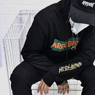 【Result】Arrogant 紅綠經典刺繡帽TEE Hoodie Hiphop