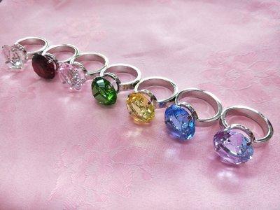 30mm求婚透明彩色水晶鑽戒贈精美紅色木製收納盒拍婚紗拍攝道具婚禮小物3cm鑽石告白求婚情人節 七夕送禮