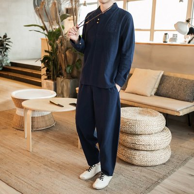 【型男風尚】AZ1266*M-5XL 中國風男裝 漢服 棉麻套裝 大碼 3色