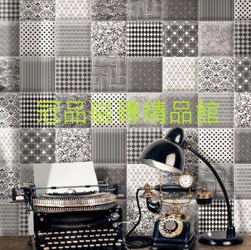 ◎冠品磁磚精品館◎西班牙進口精品-霧面黑白二色及花磚(麵包磚邊)- 15X15CM