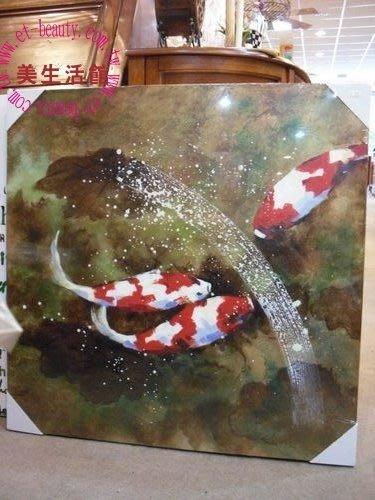 美生活館--全新鄉村古典中國風景掛畫---鯉魚戲水 無框油畫 ---入宅店面商業空間皆宜