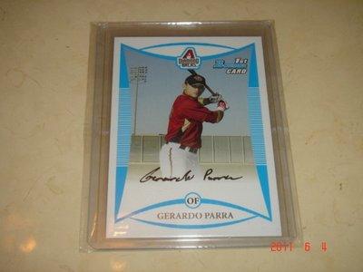 美國職棒 Brewers Gerardo Parra 2008 Bowman Prospects #BP18 RC 新人卡 球員卡