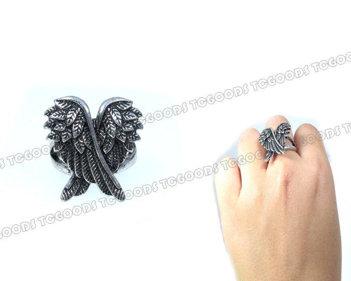 【台中好物】歐美2017春夏 百搭新款 復古銀天使立體交錯翅膀戒指 戒指 手飾 個性