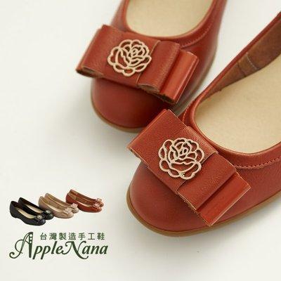 AppleNana蘋果奈奈【QC682911280】我愛山茶花。雙層蝴蝶結口碑推薦軟Q楔型小坡跟娃娃鞋