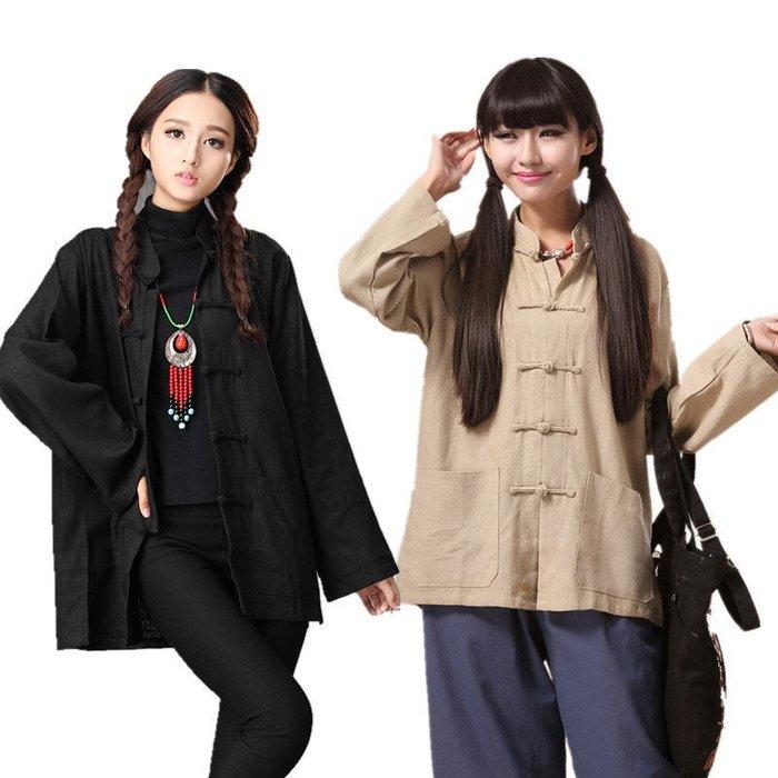 (老銀屋)秋裝中國風經典手工盤扣粗麻大碼上衣外套