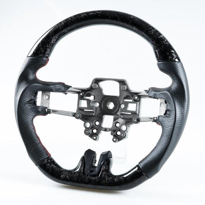 [鍛造碳纖維+真皮] 方向盤 福特野馬Ford Mustang 2019-2020年適用 /紅線 鋁鎂合金