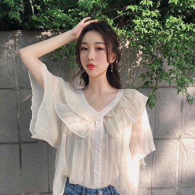 上衣女夏新款韓國chic風超仙甜美寬松百搭顯瘦娃娃衫荷葉邊雪紡衫
