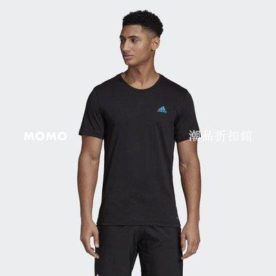 【MOMO潮品折扣館】ADIDAS PARIS GRAPH TEE 棉質 短袖T恤 巴黎鐵塔 黑藍 男款 DV2976