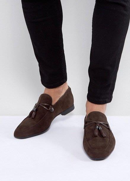 ◎美國代買◎ASOS皮革流蘇裝飾搭配方楦頭設計咖啡色皮革流蘇麂皮休閒平底鞋~歐美街風~大尺碼