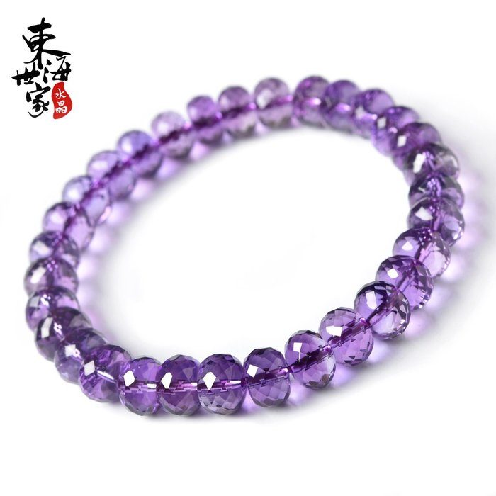 東海世家紫水晶手鍊女男 紫晶手串刻面盤珠單圈情侶水晶飾品禮物