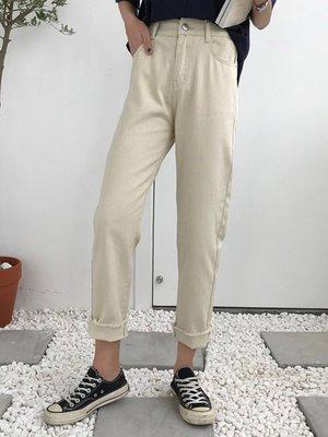 高腰松緊顯瘦水洗牛仔九分褲女學生韓版夏季純色百搭休閑直筒褲潮