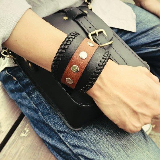 【IAN X EL】純手工編織飾邊個性皮帶手環  可調式  飾品皮件