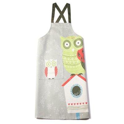 印花簡約滌麻情侶無袖布藝家居廚房烘焙圍裙男女日本櫻花日式創意