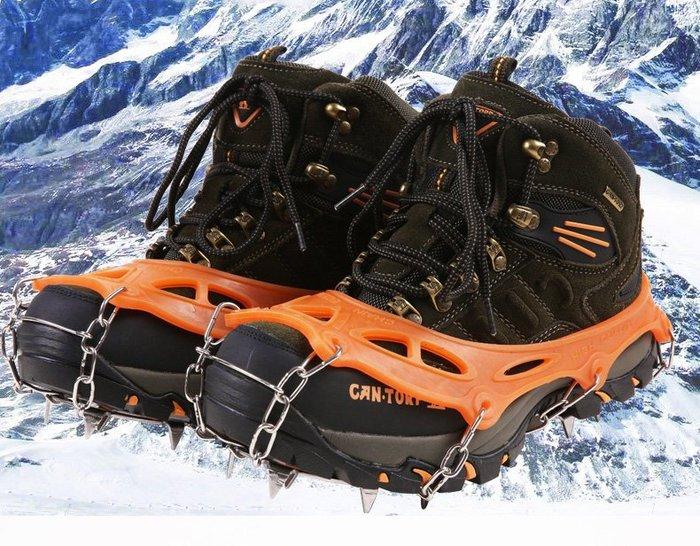 呈現攝影-CONTOOSE 不鏽鋼12爪 冰爪鞋套 橙色 防滑 雪景 登山 攀岩 攀冰 北南疆 極光 冰島 冰雪