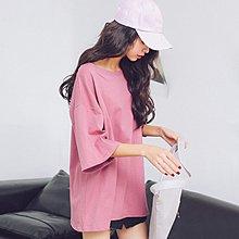 七分袖T恤女春夏2018新款韓版時尚圓領寬松純色學生打底體恤上衣
