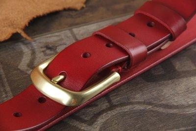 『老兵牛仔』CR-42時尚純牛皮紅色婚禮皮帶/頭層牛皮/復古/彈力/耐拉/個性