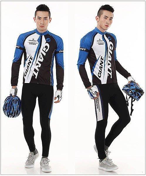 【綠色運動】11 GIANT 捷安特 藍白 自行車車衣/單車服/腳踏車服/騎行服 車衣車褲長套裝