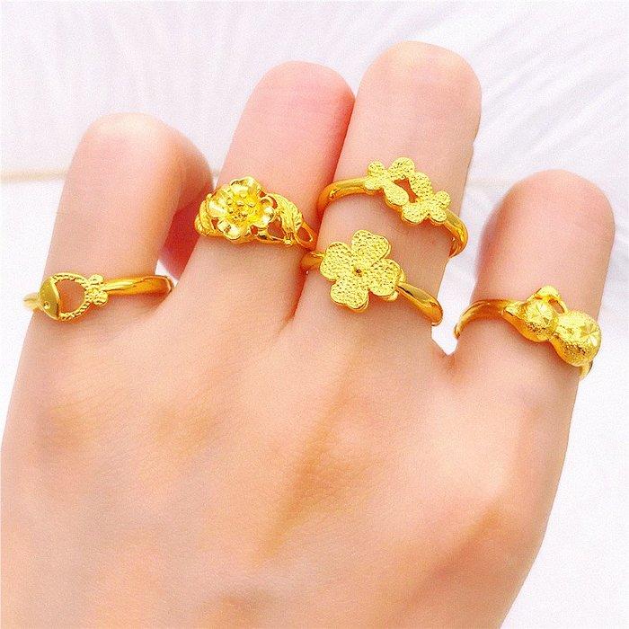 送禮佳品 鍍金戒指仿真 女久不掉色仿金歐幣海豚四葉草花開口戒指 沙金首飾