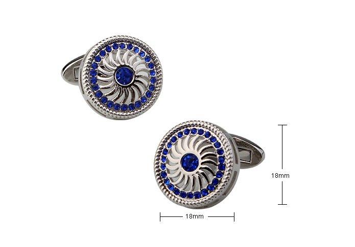 ☆TA精品☆ 男士精品 -圓形-藍色水鑽商務 袖扣  190563