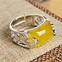 925銀鑲嵌天然黃玉髓方形蛋面戒指 男女款手飾指環銀戒子配飾