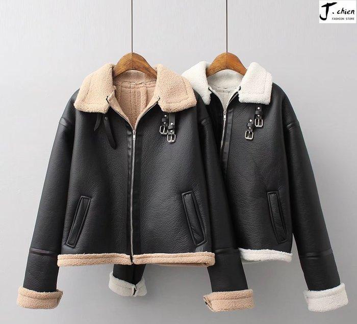 J.chien ~[全館免運] 歐美款寬鬆大碼機車短款外套 機車外套 外套 騎士外套 防風外套