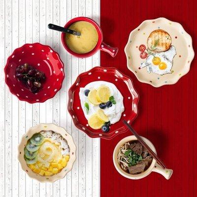 餐具套餐 波點碗北歐盤子日式碗碟簡約情侶陶瓷餐具套裝家用可愛好看的碗盤【時光軌跡】  風水擺件