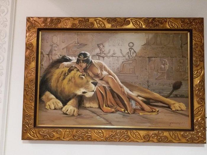 油畫 女王與獅子長寬厚 75x52x2.3公分喬遷 情人節禮物生日 禮物,適客廳書房餐廳玄關