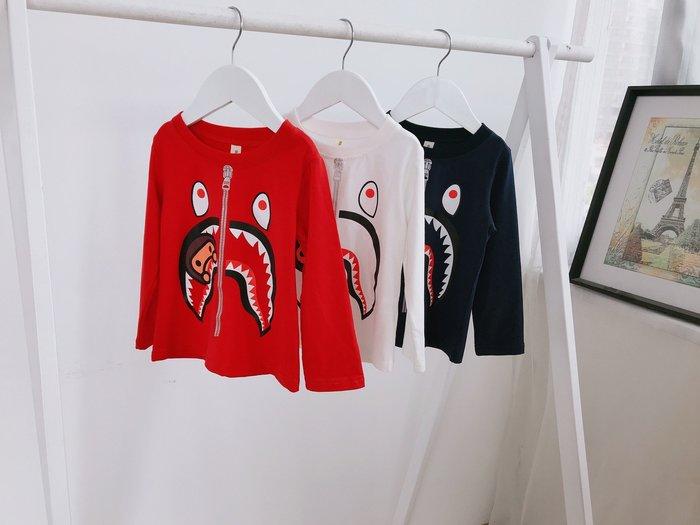 現貨 鯊魚拉鍊印花圓領T恤